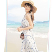 Women Chiffon Long Dress Spaghetti Straps Blue Flower Print Ruffle Pleating S-Size Dress @MF5096
