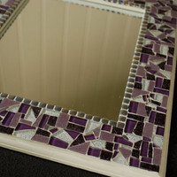 Mosaic Mirror, Wall Art, Purple and White