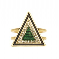 House of Harlow 1960 Jewelry Teepee Triangle Ring Green