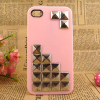 Unique iPhone 4/4case, pink iPhone 4case, silver studded iPhone case, iPhone covers, cool iPhone case, pyramid stud pink hard case cover
