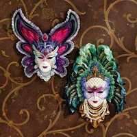 Maidens of Mardi Gras Wall Mask Sculptures: Butterfly Maiden & Peacock Princess - WU975073 - Design Toscano