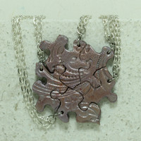 Friendship Necklaces for 5 best friends Flower and swirl pattern