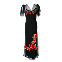 1930's Red-Poppies Floral Applique Silk Tulle Illusion Flutter-Sleeve Deco Gown