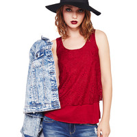 Lace Overlay Layered Tank | Wet Seal