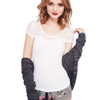 Lace Sweetheart Illusion Tee | Wet Seal
