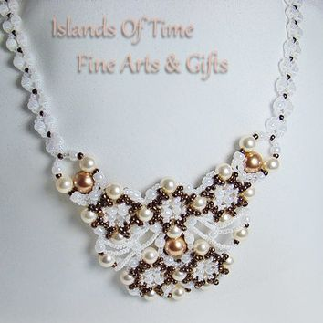 White & Rose Gold Swarovski Pearl Bridal Beaded Necklace 25 Inch