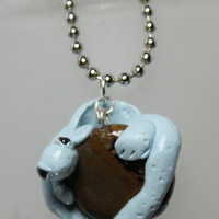 Dragon  Pendant Silver Leaf Agate and  Polymer Clay