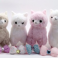 Offical Japanese Amuse 4pcs Cute Arpakasso Alpaca Llama Bon Bon Bow Tie Soft Animal Stuffed Plush Toys