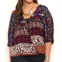 Plus Size Surplice Tie Front Top with Mixed Multicolor Print