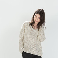 V-neck fancy knit top