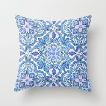 Cornflower Blue, Lilac & White Floral Pattern Throw Pillow by micklyn