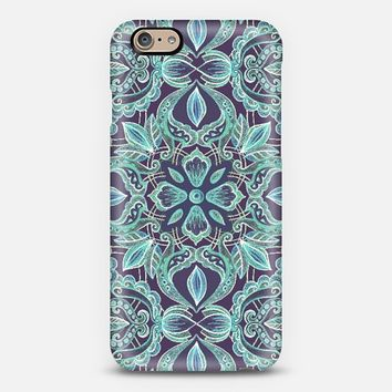 Chalkboard Floral - Teal on Navy Hand Drawn Pattern iPhone 6 case by Micklyn Le Feuvre | Casetify