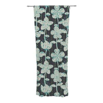 "KESS InHouse Julia Grifol ""My Grey Spotted Flowers"" Decorative Sheer Curtains, 30 by 84-Inch"