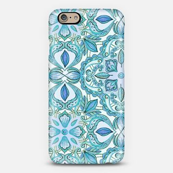 Colored Crayon Teal & Blues iPhone 6 case by Micklyn Le Feuvre | Casetify