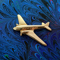 Solid Brass Airplane Magnetic Tie Clip Bar or Tack