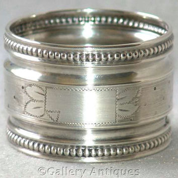 Antique French 800 Grade Silver Engine Turned Napkin / Serviette Ring by Louis Ravinet & Charles Denfert  c1900 (ref: 2171)