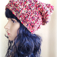 Slouchy Crochet Hat / Beanie with Pom-Pom in Chili Pepper -Adult/Teen/Women
