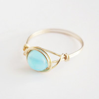 Blue Opal Ring - unique rings