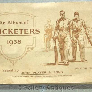 Cricketers 1938 Full Set of 50 Cigarette Cards in Original Album by John Player & Sons Issued in 1938 (ref: 3091)