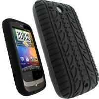 igadgitz Black Silicone Skin Case Cover with Tire Tread Design for HTC Wildfire G8 Android Smartphone Cell Phone + Screen Protector (NOT SUITABLE FOR HTC WILDFIRE S): Cell Phones & Accessories