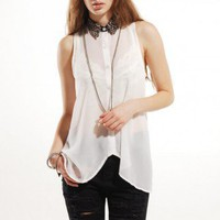 Wildcat Collared Chiffon Blouse in White