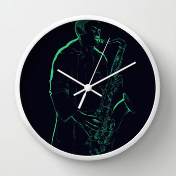Neon Blues Wall Clock by Texnotropio | Society6