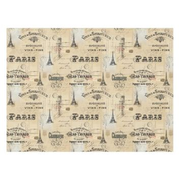 Paris Label Collage French Postcards Table Cloth
