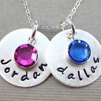 Hand Stamped Mommy Necklaces - Two Name Charms - Personalized Birthstone Keepsake Necklace (NN017)