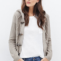 Multi-Knit Hooded Toggle Cardigan