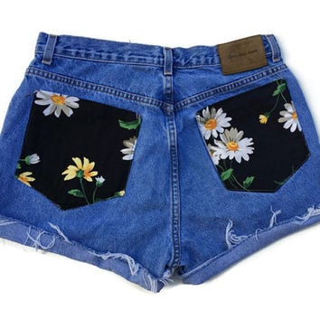 High Waisted Daisy Shorts Denim Jean Shorts Size 11/12