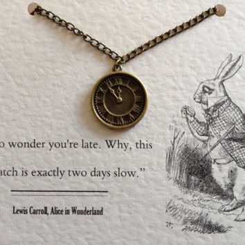 Alice in Wonderland Metal Charm Necklace - White Rabbit Pocket Watch