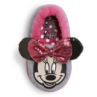 Toddler Girl's Disney® Minnie Mouse Slippers - Gray/Pink