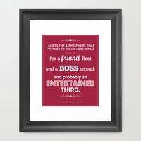 The Office Michael Scott Quote Season 1 Episode 1 - Friend First - Burgundy & White Framed Art Print by Noonday Design