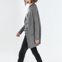 Long aran cardigan
