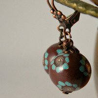 Chocolate and Mint Ball Earings, Copper Ear Wires