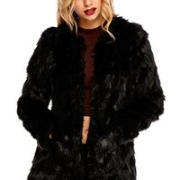 Lexy Collarless Faux Fur Jacket in Black