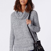 Missguided - Carina Chunky Knit Roll Neck Jumper Grey