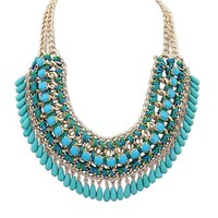 Eyourlife Hot Fashion Retro Jewelry Pendant Knit Chain Choker Chunky Statement Bib Necklace