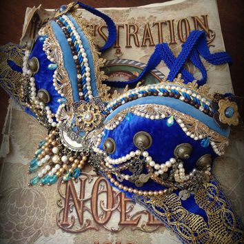 SOLD Tribal Fusion Bra Blue Gold Katy Perry Dark Horse Inspired Bra Professional Bellydance Bra Tribal Fusion Bellydance Costume Cleopatra