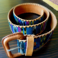 Guatemalan Brown Leather and Textile Belt, Ethnic Accessories