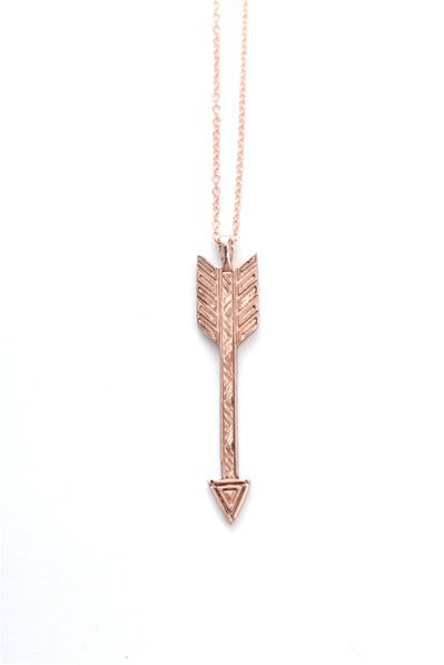 Rose Gold Plated Arrow Necklace - Spanish Moss