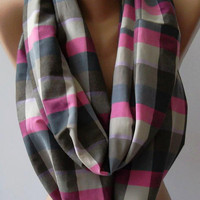 Dance of the Colors Collection - Plaid - Infinity - Loop - Circle / Elegant -- Feminine - Summer - Shawl - Scarf