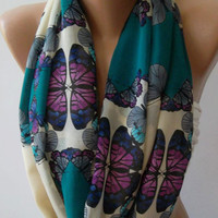 Dance of the Colors Collection ...Butterfly Patterned - Infinity - Loop - Circle - Elegant / Feminine -- Summer - Shawl - Scarf