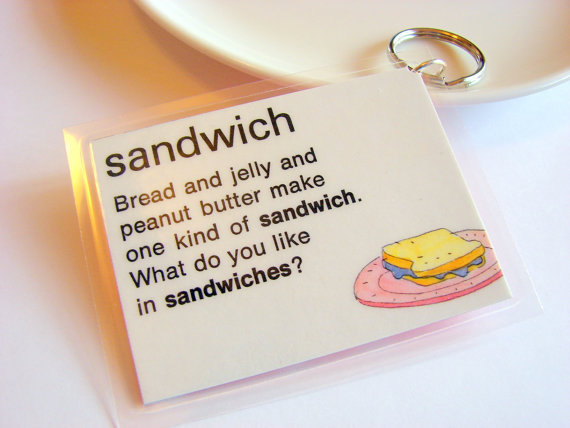 Sandwich Key Chain - Bread and Jelly and Peanut Butter - Laminated Vintage Paper - Retro Kitsch Keychain - One of a Kind
