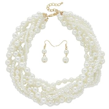 HauteChicWebstore Multi Pearl Beads Strands Twisted Chocker Necklace Set in Ivory - www.shophcw.com
