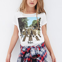 FOREVER 21 GIRLS Abbey Road Batwing Tee (Kids) Cream/Black