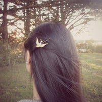 Bird Bobby Pin - Gold Sparrow - Cute Adorable - Boho Bohemian - Indie - Elegant - Romantic - Whimsical Whimsy - Dreamy - Woodland Collection