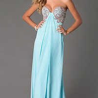 Long Embellished Sweetheart Gown