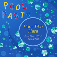 Pool Party Invitation - Under Water Bubbles - Card Design - Printable File