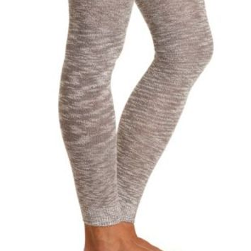 Marled Sweater Knit Footless Tights by Charlotte Russe - Gray Combo